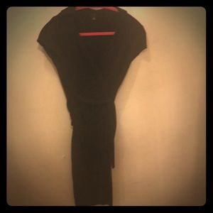 Black knee length wrap dress